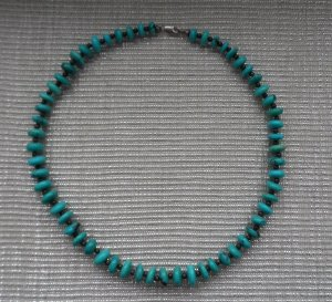 Necklace silver-colored-turquoise real silver