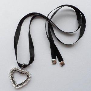 edle Kette mit Herz Anhänger aus 925 Silber mit schwarzen u. klaren Zirkonia 1 x getragen