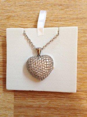 Edle Kette mit Herzamulett und Glitzer-Steinen