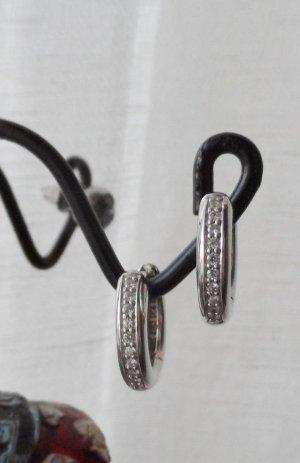 edle Klapp Creolen 925 Silber mit Zirkonia Steinen wenig getragen