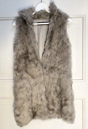 Zara Smanicato di pelliccia crema-beige chiaro