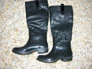Edle Langschaft-Stiefel in Schwarz, modische Gummistiefel