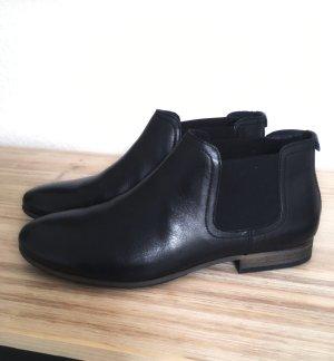 Edle Leder Chelsea Boots niedriger Schaft Schwarz 38