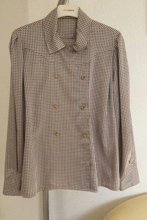 Edle louis Feraud Paris Bluse Vintage w.Seide Top Hellgrau Schwarz 38 40 Top