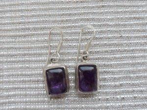 Pendant d'oreille argenté-violet argent