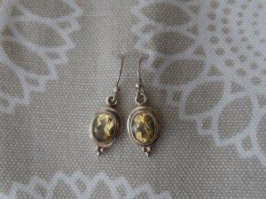edle Ohrringe aus 925 Silber mit Citrin wenig getragen