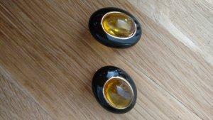 Edle Ohrringe schwarz mit bernsteinfarbenen Stein
