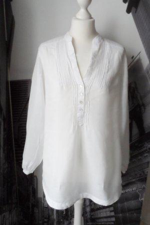 edle Promod Tunika Gr. 40 Weiß aus Leinen und Baumwolle