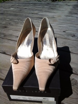 Edle Pumps Abendschuhe in Champagner Nude Creme von Pura Lopez