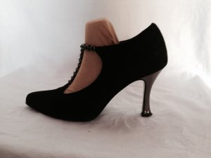 Edle Pumps Italy Black Leder 37,5 Silberabsätze schwarze Steine Mary Jane