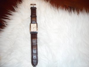 Watch With Leather Strap dark brown-silver-colored