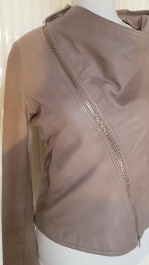 Edle rockige weiche Lederjacke in Taupe von Imperial in Größe 38