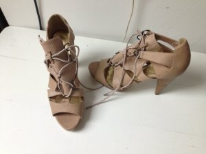H&M Strapped High-Heeled Sandals cream-gold-colored