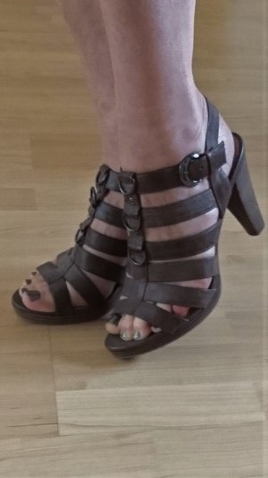 5th Avenue High Heel Sandal grey brown-camel leather