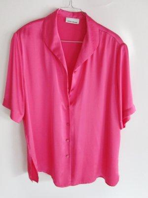 Edle Satin Bluse Größe XXL 44 46 Gerry Weber Soft Pink Glanz Kurzarm Hemd Oversize
