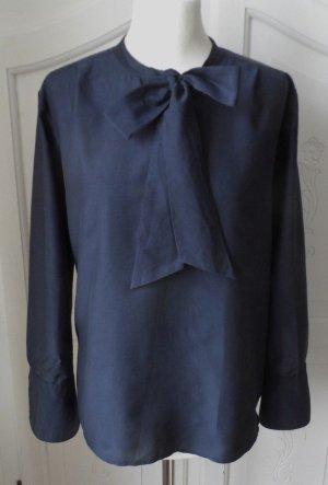 Blouse avec noeuds bleu foncé tissu mixte