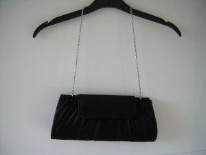 edle schwarze Clutch Abendtasche Hartschale aus Satin mit silberner Kette