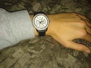 Edle schwarze Glitzer-Uhr