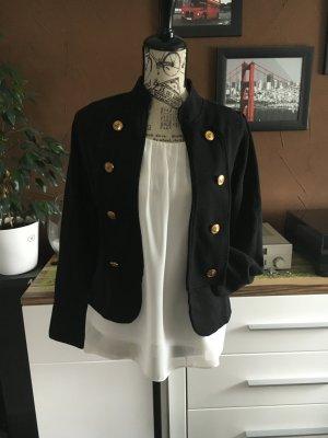 Edle schwarze Jacke mit goldenen Knöpfen