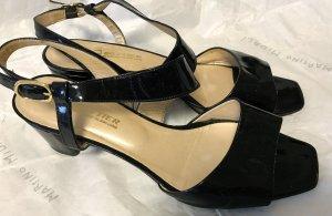 Sandalen met hoge hakken zwart-room Leer