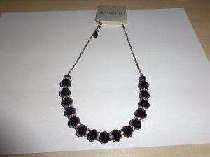 edle schwarze Perlenkette mit silbernen Glitzersteinchen