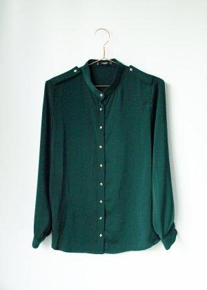 edle seidige Tannengrüne Bluse mit Stehkragen M Mango Basics