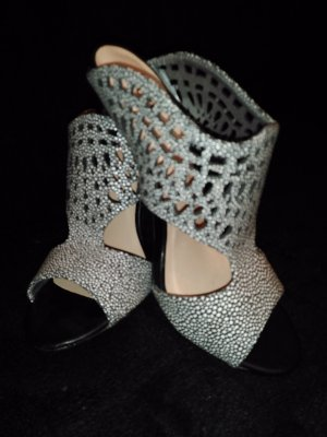 Just Fab Heel Pantolettes silver-colored imitation leather