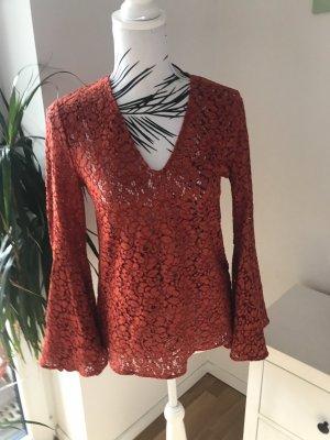 Zara Lace Blouse neon red mixture fibre