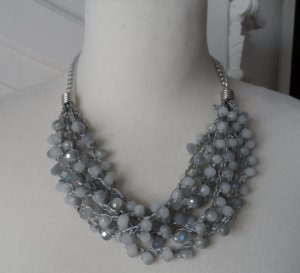 Collier Necklace silver-colored-grey glas