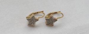 edle Sternen Ohrringe aus 333 Gold mit zwei kleinen Diamanten wenig getragen