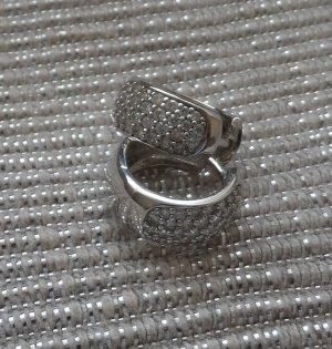 edle TCM Creolen aus 925 Sterlingsilber mit Zirkonia wenig getragen