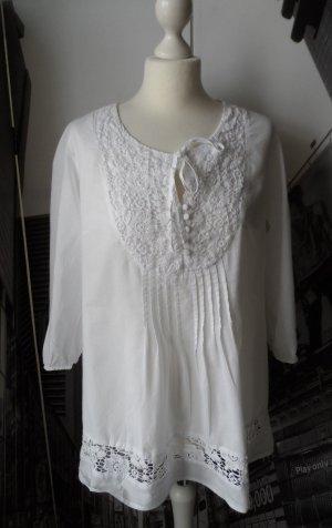 edle Tunika / Bluse Gr. 42 Weiß mit Spitze wenig getragen
