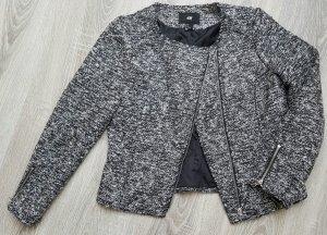 Edle Tweed Weste / Blazer in schwarz/grau/silber, Gr. 36