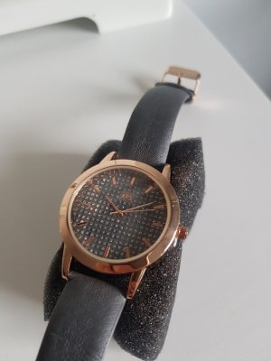Watch With Leather Strap rose-gold-coloured-grey