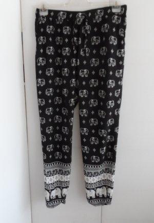 Pantalón estilo Harem negro-blanco Viscosa