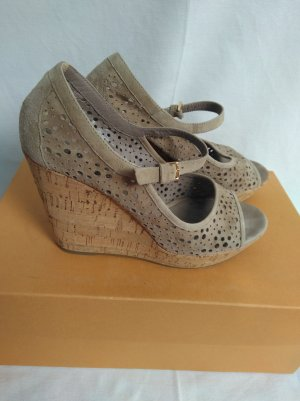 Vic Matie Wedge Sandals light grey-grey brown leather