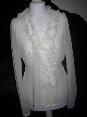 edle weiße transparente Rüschen-Bluse