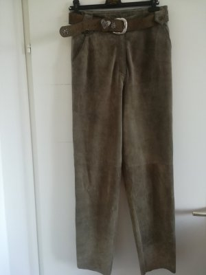 Pantalón de cuero marrón grisáceo