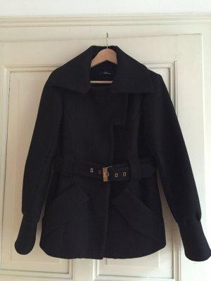 Edle Winterjacke aus Wollegemisch von Phard, schwarz, großer Kragen, Gürtel - NP 349 Euro