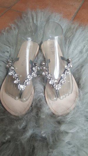 Lis du Perou Toe-Post sandals silver-colored-beige