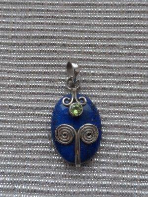 edler Anhänger 925 Silber mit eine großen Lapislazuli und Peridot