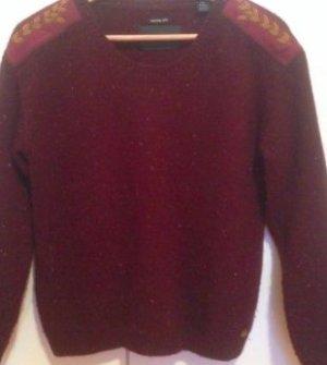 Edler Dunkelroter/Bordeaux Wollpullover mit Patches an Schultern und Armen