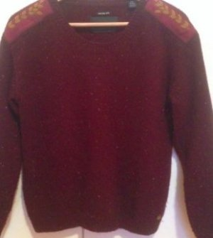Edler Dunkelroter/Bordeaux Wollpullover mit Patches von Maison Scotch