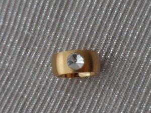 edler Edelstahl Ring Gr. 19 (59) Gold beschichtet mit Zirkonia