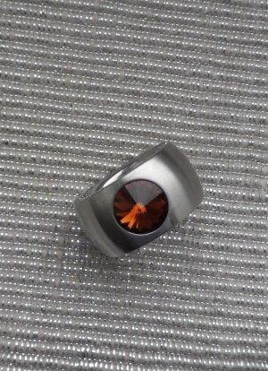 Zilveren ring zilver-bruin Edelstaal