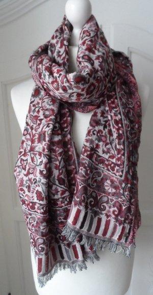 edler ESPRIT Schal aus Baumwolle mit Paisleymuster Rot Rose Grau wenig getragen