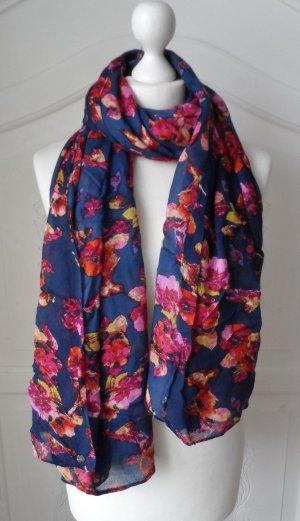 edler ESPRIT Schal mit Blumenmuster Dunkelblau Bunt nur 1 x getragen