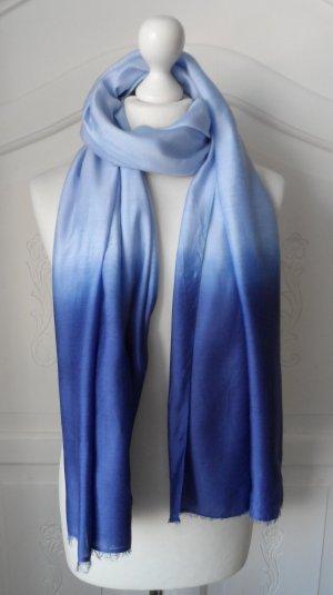 edler Esprit XL Schal mit Seide Blau nur 1 x getragen