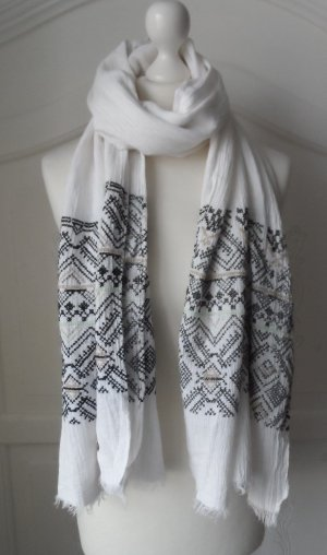 Esprit Scarf white-black cotton