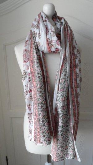 edler Esprit XXL Schal mit floralem Muster Weiß Rosa Grün nur wenig getragen